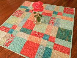 quilted square table toppers table topper in aqua teal and coral red batiks quilted square table