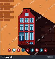 European Houses Row Amsterdam Old European Houses Vector Stock Vector 178286429