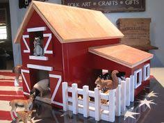 red wooden toy barn with attached silo by weeksendcrafts on etsy