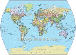 Vector World Map Vector World Map Times Projection Political Uk Centric 10m Scale