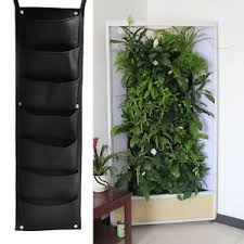 7 pocket vertical garden wall planter hanging planting bag herb