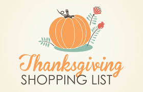 thanksgiving grocery list thanksgiving