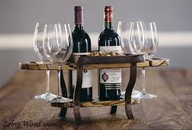 wine bottle tray bottle caddy bottle with four glass holders and serving tray