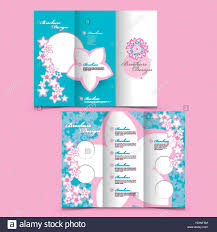 lovely tri fold brochure design with pink floral elements stock