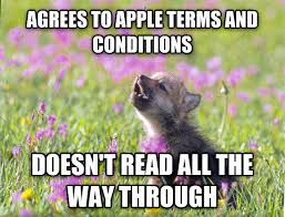 Meme Courage Wolf - agrees to apple terms and conditions funny wolf meme image