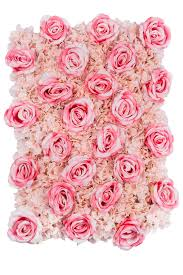 pink backdrop silk roses hydrangeas flower wall backdrop panel fuchsia light