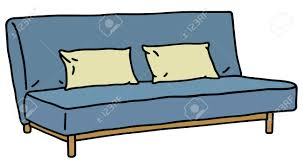 hand drawing of a blue simple sofa royalty free cliparts vectors