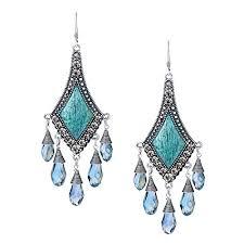 Big Chandelier Earrings She Lian Vintage Silver Tone Rhinestone Jewelry Big Dangle