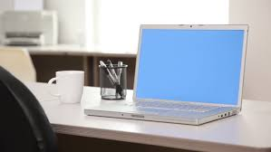 Blue Computer Desk by Laptop Computer With Blue Screen In Office Stock Footage Video