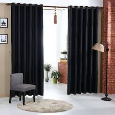 Blackout Drapery Fabric Black Thermal Blackout Curtains Pairs Eyelet Plain Colour Curtains