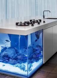 wohnideen minimalistischen aquarium design küche mit weißen fronten ausreichend stauraum einbaugeräte