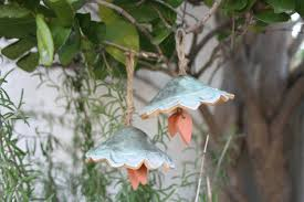 wind chime set of 2 handmade ceramic bell garden art garden decor