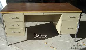 Metal Computer Desk With Hutch by Metal Desk Makeover Before And After Reveal