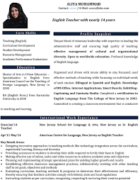 Resume For Teachers Example by English Teacher Cv Format U2013 English Teacher Resume Sample And Template