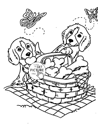 dogs with a basket of bones coloring page for kids animal