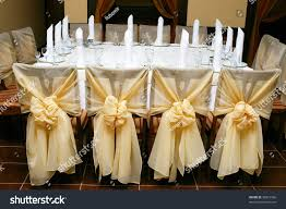 table set wedding reception golden cloth stock photo 36815596