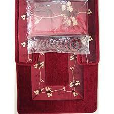Maroon Bath Rugs Amazon Com 4 Piece Luxury Embroidered Bath Rug Set 3 Piece