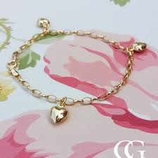 gold hearts bracelet images Ladies fine 9ct yellow gold heart charm belcher bracelet 7 quot jpg