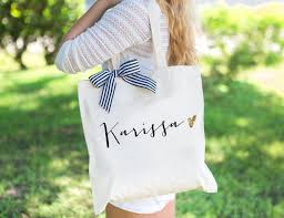 bridal party tote bags personalized bag gift for bridesmaids tote bags canvas w striped