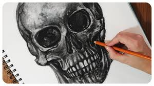 how to draw a detailed skull in charcoal