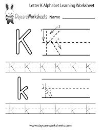 free printable letter k alphabet learning worksheet for preschool