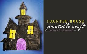 Recycled Halloween Crafts - haunted house printable craft