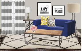 Living Room With Blue Sofa by Flooring Blue Ottoman With Gray Sofa And Decorative Cushions Plus