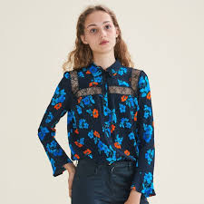 printed blouse cirque printed blouse with lace tops t shirts maje com