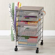 platinum elfa mesh gift wrap cart the container store