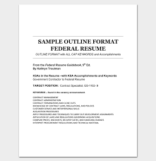 Sample Federal Resume Resume Outline Template 19 For Word And Pdf Format