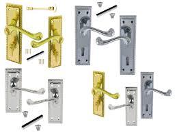 Bathroom Door Handles 4 Pairs Set Georgian Scroll Chrome Brass Latch Lock Or Bathroom