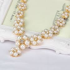 buy simulated white pearl flower wedding necklace set jewellery