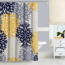 navy blue and yellow shower curtain floral shower curtain