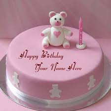 cute teddy bear pink birthday name wishes cakes pictures