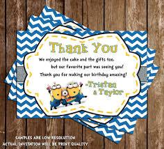 Minions Invitation Card Novel Concept Designs Despicable Me Minions Twins Birthday