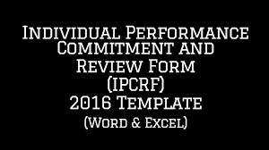 individual performance commitment and review form ipcrf template
