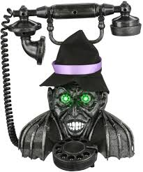 vintage creepy witch base phone tabletop motion activated