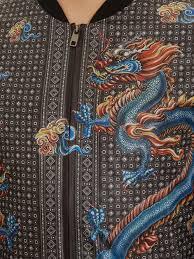 dolce u0026 gabbana dragon print nylon jacket in brown for men lyst