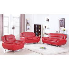 Sofa Set Ufe Norton Red Faux Leather 3 Piece Modern Living Room Sofa Set