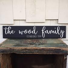 family wood sign home decor custom family name wood sign cursive handwritten font