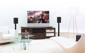 home theater table home theater shows lcd tv on dark brown wooden tv table and glass