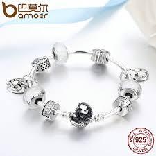 heart charm bracelet sterling silver images Bamoer 925 sterling silver glittering hope petals clover heart jpg