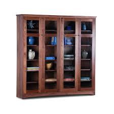 Bookcase Cabinet With Doors Glass Door Shelves Walnut Bookcase With Glass Doors Antique