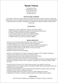 Technical Support Resume Template Professional Chemist Templates To Showcase Your Talent