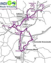 Indiana Counties Map Route 10 Bus Route Schedule And Fares Indiana County Transit