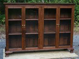 Cherry Bookcase With Glass Doors Chippendale Low Bookcase