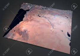 Satellite View Maps Syria Satellite View Map Section 3d Land Middle East Stock