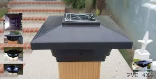 solar post cap lights 4x4 black set of 2 fit vinyl or wood deck posts