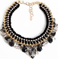 rope necklace choker images Fashion black gem rope braided chunky choker necklace wholesale jpg