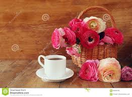 Beautiful Coffee Image Of Beautiful Flowers Next To Cup Of Coffee Stock Photo
